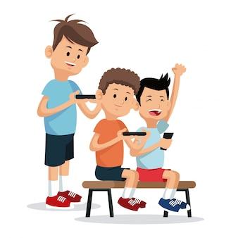 Adolescenti che giocano a smartphone per videogiochi