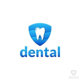 Modello di logo di cura e protezione dei denti