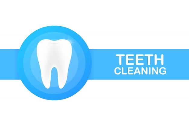 Pulizia dei denti. denti con disegno dell'icona scudo. concetto di cura dentale. denti sani. denti umani.