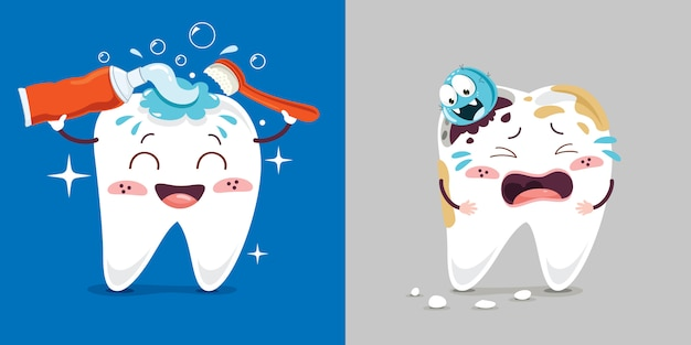 Concetto di assistenza sanitaria di denti con personaggi dei cartoni animati
