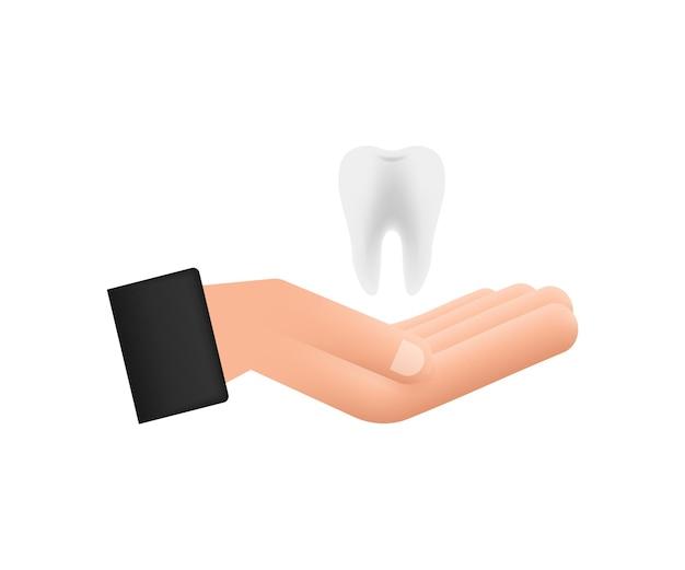 Dentista icona denti. denti sani nelle mani. denti umani. illustrazione vettoriale.