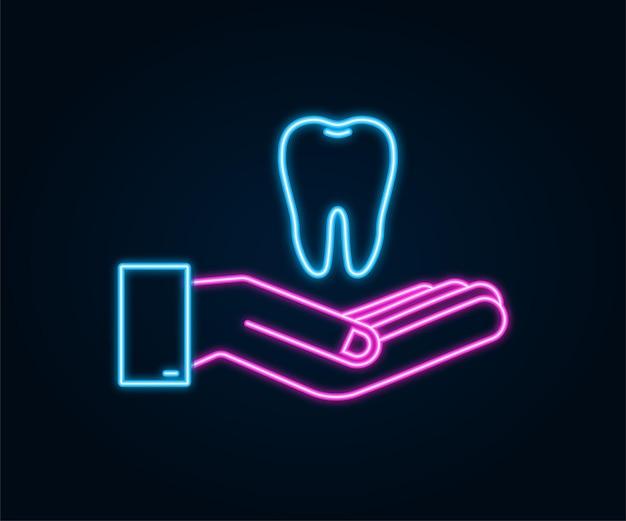 Icona dei denti icona al neon del dentista. denti sani nelle mani. denti umani. illustrazione vettoriale.
