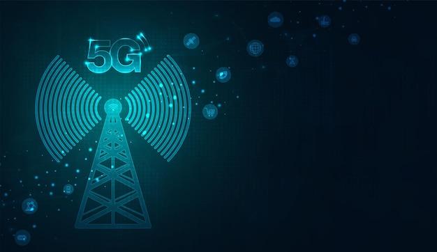 Trasmettitore di segnale per telecomunicazioni, torre radio da linee. disegno vettoriale di illustrazione.