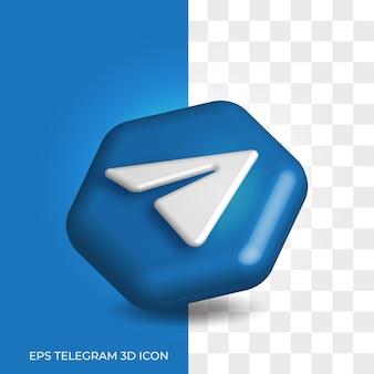 Stile del logo 3d di telegram in asset icona esagonale ad angolo tondo isolato