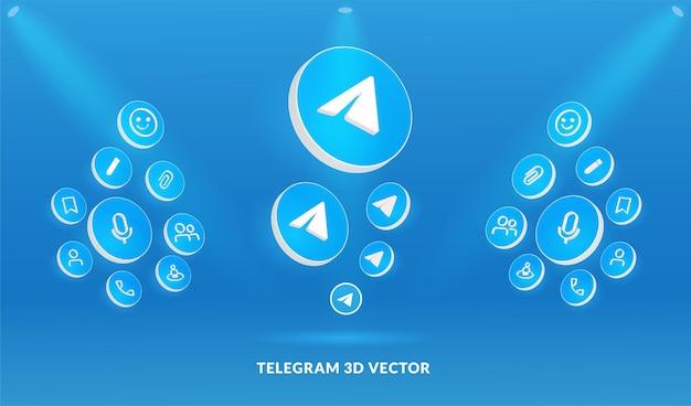 Logo di telegram e set di icone in stile vettoriale 3d