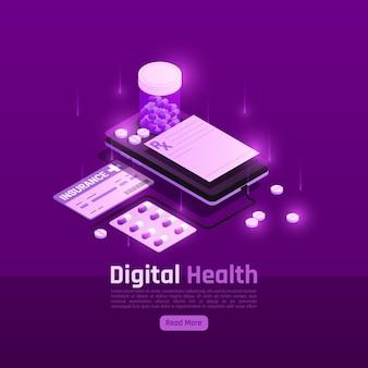 Illustrazione isometrica di bagliore di salute digitale di telemedicina
