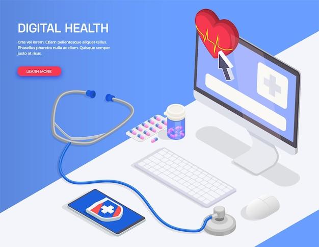 Banner isometrico di salute digitale di telemedicina