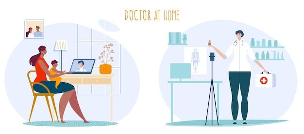 Illustrazione di consultazione del medico di telemedicina.