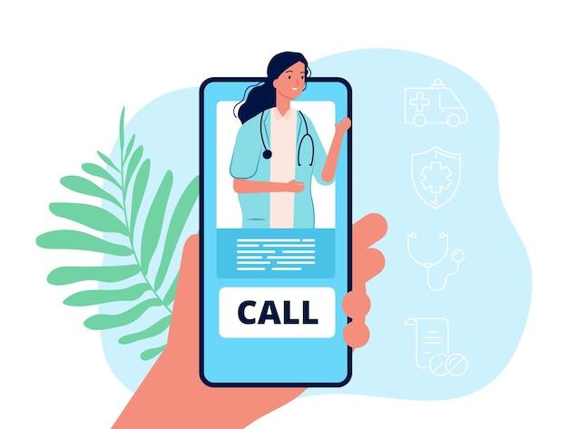 Telemedicina. telefono della tenuta della mano, servizio mobile medico. concetto di vettore di consultazione medico a distanza. medico di illustrazione online, consultazione e cura a distanza