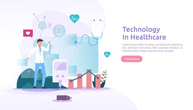 Concetto di servizi sanitari di telemedicina. trattamento di consultazione online con il medico utilizzando l'app. tecnologia innovativa per la diagnosi medica. illustrazione piatta per pagina web e sito web mobile
