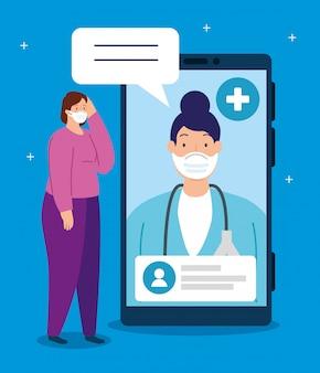 Tecnologia di telemedicina con dottoressa in laptop con donna