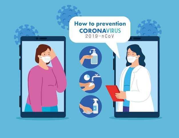 Tecnologia di telemedicina con smartphone e donne