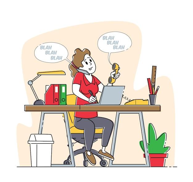 Comunicazione telefonica, giornata intensa, concetto di operatore di chiamata
