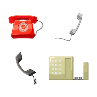 Apparecchio telefonico cartoon set di telefono