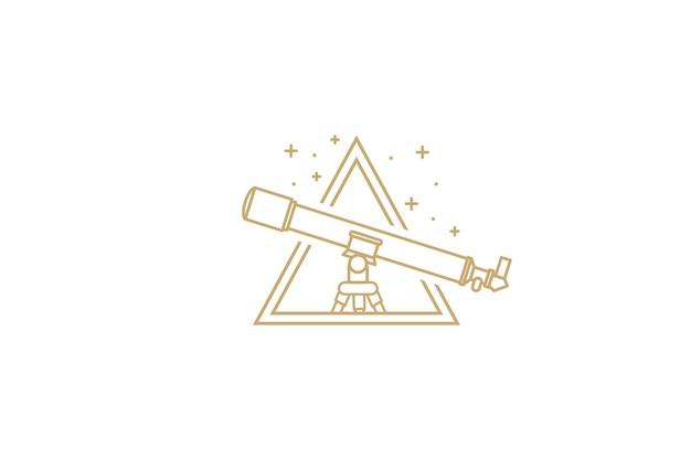 Logo del telescopio realizzato in una linea alla moda stile vettoriale con stelle e triangoli logo del telescopio creativo