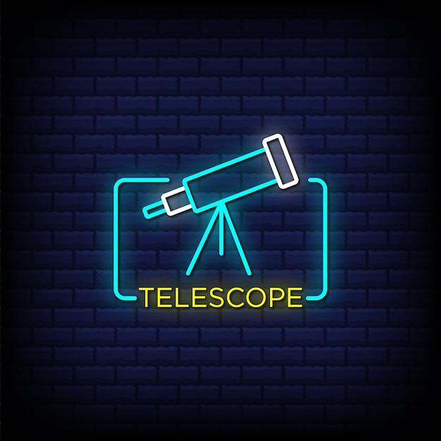Testo in stile insegne al neon del telescopio