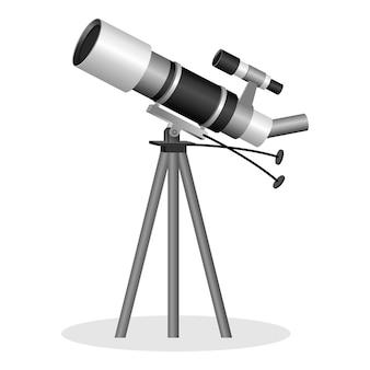 Telescopio per osservare l'illustrazione realistica delle stelle. strumento ottico che aiuta nell'osservazione di oggetti astronomici remoti. strumento binoculare per l'osservazione di oggetti nel cielo