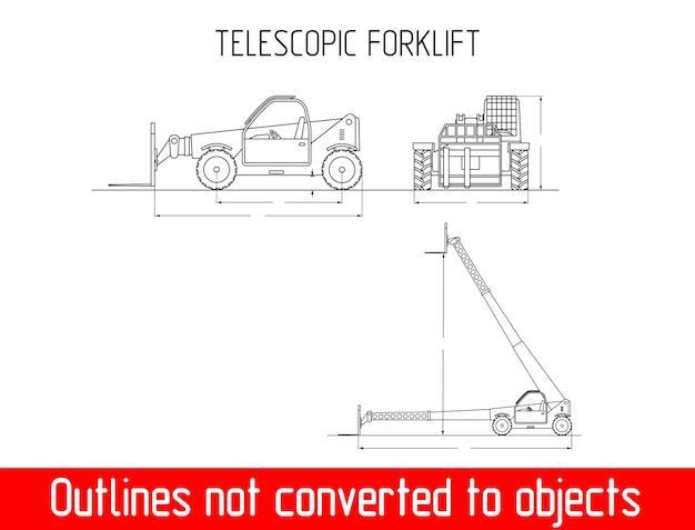 Dimensioni e dimensioni del vettore del modello del vettore del carrello elevatore telescopico, altezza e larghezza