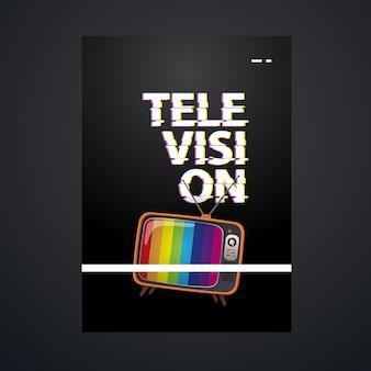 Modello di poster televisivo con illustrazione televisiva vintage