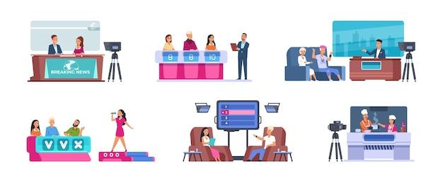 Show televisivo. cartone animato intrattenimento tv con notizie, cantante di talento con giuria, musica, cucina