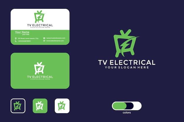 Televisione con logo elettrico e biglietto da visita