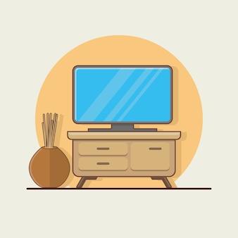 Televisione con illustrazione di vaso di fiori.