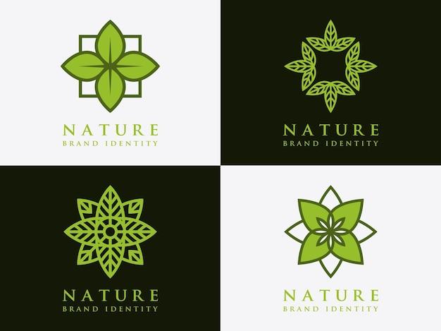 Tempalte leaf logo design set simbolo di natura semplice