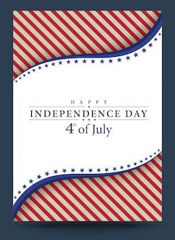 Modello 4 luglio illustrazione vettoriale independence day Vettore Premium