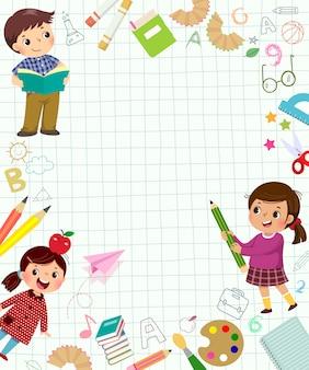 Modello per sfondo pubblicitario nel concetto di apprendimento con tre alunni. torna a banner di scuola.