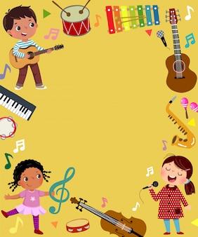 Modello per sfondo pubblicitario nel concetto di musica con tre musicisti di bambino.