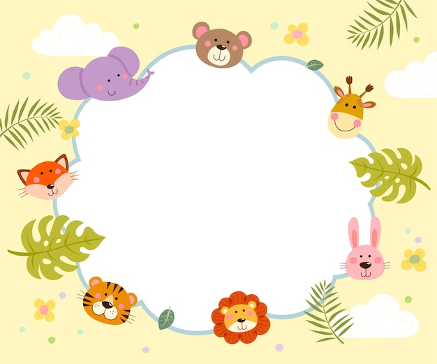 Modello per brochure pubblicitaria con cartone animato di simpatici animali selvatici e foglie tropicali.