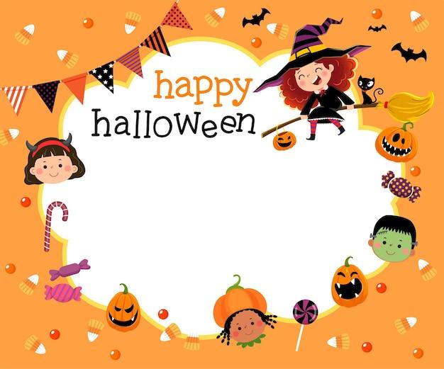 Modello per brochure pubblicitaria con cartoni animati di bambini felici e caramelle nel concetto di halloween.