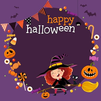 Modello per brochure pubblicitaria con piccola strega felice e caramelle nel concetto di halloween.