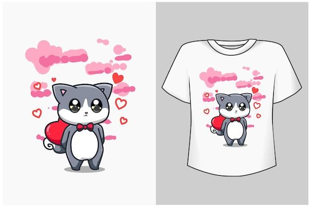 Illustrazione del fumetto del gatto e dell'amore del modello del bambino