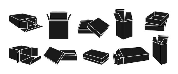 Set di scatole modello glifo nero
