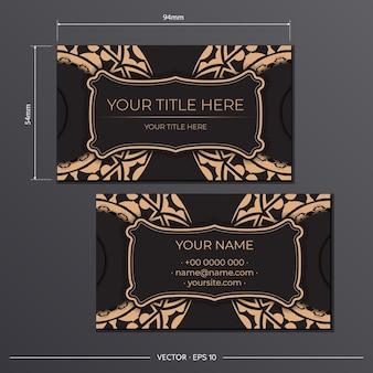 Biglietti da visita presentabili modello nero. ornamenti decorativi per biglietti da visita, motivi orientali, illustrazione.