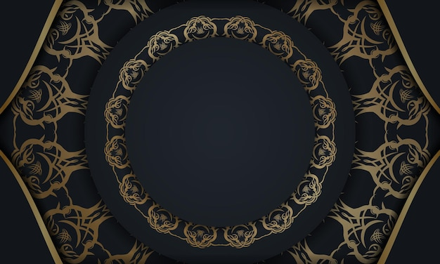 Brochure modello in colore nero con un mandala con ornamento in oro preparato per la stampa.