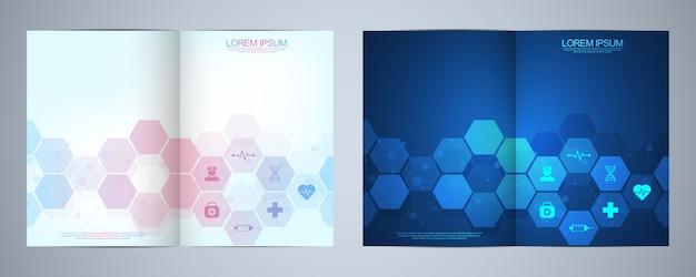 Brochure modello o copertina del libro, layout di pagina, design flyer. concetto e idea per attività sanitaria, medicina dell'innovazione, farmacia, tecnologia.