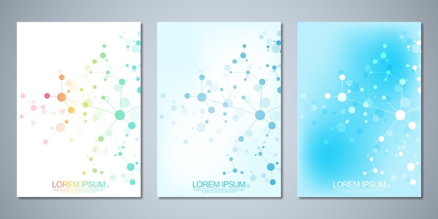 Opuscoli modello o copertina, libro, volantino, con sfondo di molecole e rete neurale.