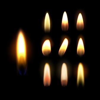 Modello di candela accesa, set di fiamma isolato su sfondo nero