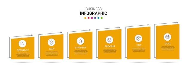 Modello per infografica aziendale. sei opzioni o passaggi con icone e testo.