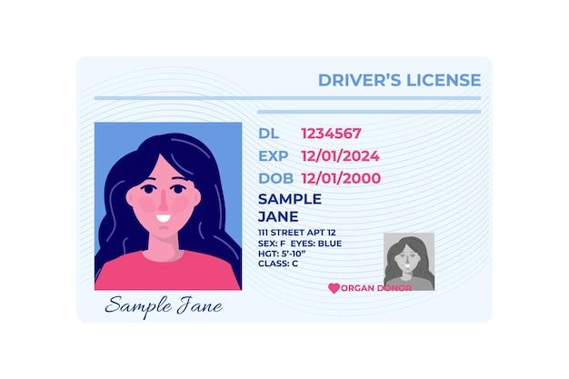 Modello di carta di plastica della patente di guida dell'auto.
