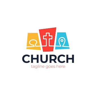 Modello logo cristiano, emblema per scuola, università, seminario, chiesa, organizzazione.