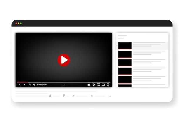 Cornice multimediale colorata modello. finestra di streaming live mockup, lettore. trasmissione in linea. concetto di social media. illustrazione vettoriale. eps 10
