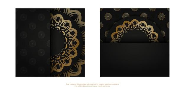 Modello brochure di congratulazioni in nero con motivo indiano dorato