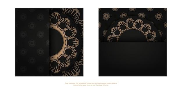 Modello volantino di congratulazioni colore nero con ornamento mandala marrone