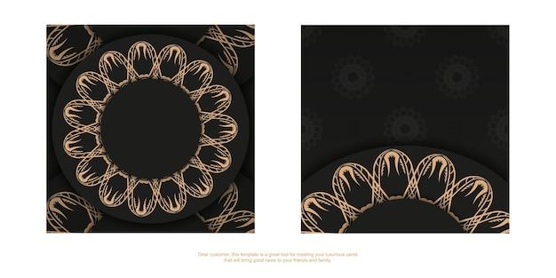 Modello volantino di congratulazioni colore nero con motivo mandala marrone