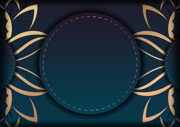 Modello volantino di congratulazioni con una sfumatura di colore blu con un motivo a mandala dorato per il tuo design.