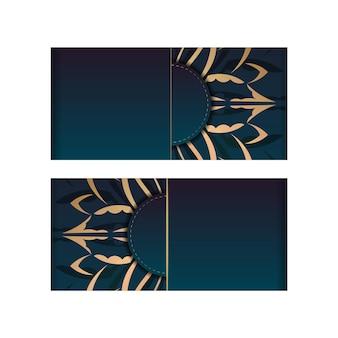 Modello di volantino di congratulazioni con colore blu sfumato con ornamenti d'oro vintage per il tuo marchio.