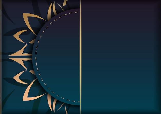 Modello di volantino di congratulazioni con colore blu sfumato con ornamenti d'oro vintage per il tuo design.